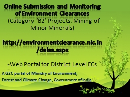 1 Online Submission and Monitoring of Environment Clearance
