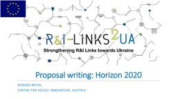 Proposal writing: Horizon 2020