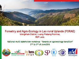 Forestry and Agro-Ecology in Lao rural Uplands (FORAE)