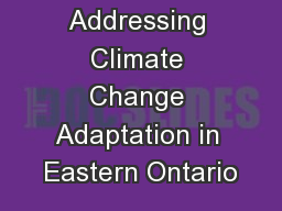Addressing Climate Change Adaptation in Eastern Ontario