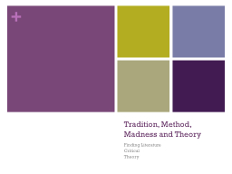 Tradition, Method, Madness and Theory
