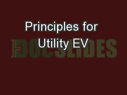 Principles for Utility EV PowerPoint PPT Presentation
