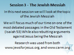 Session 3 - The Jewish Messiah PowerPoint PPT Presentation