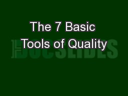 The 7 Basic Tools of Quality