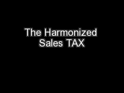 The Harmonized Sales TAX
