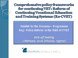 Comprehensive policy frameworks for continuing VET: Reform