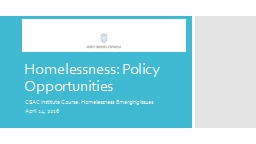 Homelessness: Policy Opportunities