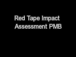 Red Tape Impact Assessment PMB