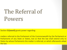The Referral of Powers