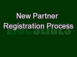 New Partner Registration Process