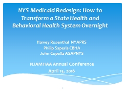 NYS Medicaid Redesign: How to Transform a State Health and