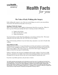 The Value of Early Walking after Surgery Early walking