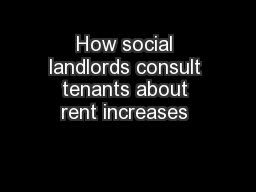 How social landlords consult tenants about rent increases