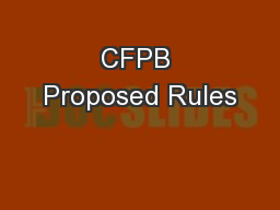 CFPB Proposed Rules