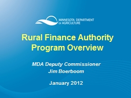 Rural Finance Authority Program Overview