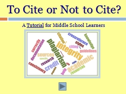 To Cite or
