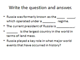 Write the question and answer.
