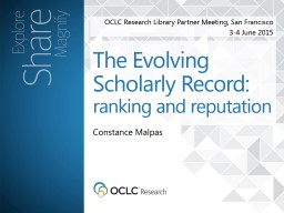 OCLC Research Library Partner Meeting, San Francisco