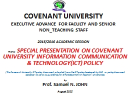 COVENANT UNIVERSITY PowerPoint PPT Presentation