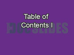 Table of Contents I