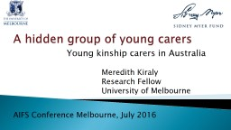 Young kinship carers in Australia – a hidden group