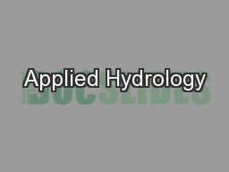 Applied Hydrology