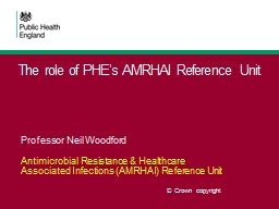 The role of PHE's AMRHAI Reference Unit