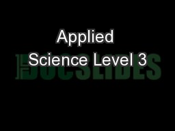 Applied Science Level 3