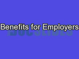 Benefits for Employers