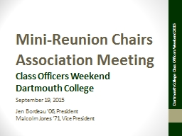 Mini-Reunion Chairs Association Meeting PowerPoint PPT Presentation