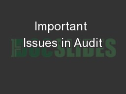 Important Issues in Audit