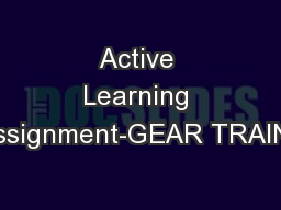 Active Learning Assignment-GEAR TRAINS
