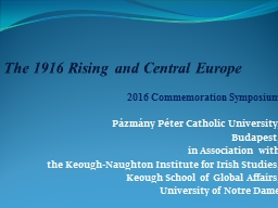 The 1916 Rising and Central Europe