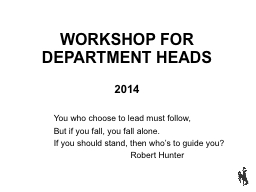 WORKSHOP FOR DEPARTMENT HEADS