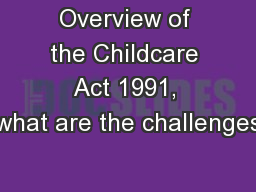 Overview of the Childcare Act 1991, what are the challenges