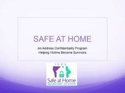 SAFE AT HOME PowerPoint PPT Presentation