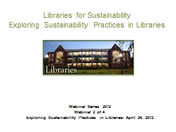 Libraries for Sustainability PowerPoint PPT Presentation