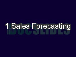 1 Sales Forecasting