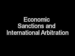 Economic Sanctions and International Arbitration