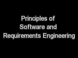 Principles of Software and Requirements Engineering