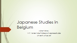 Japanese Studies in Belgium