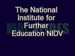 The National Institute for Further Education NIDV