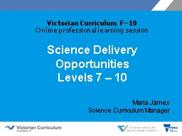 Science Delivery Opportunities