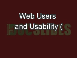 Web Users and Usability (
