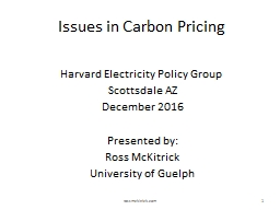 Issues in Carbon Pricing