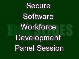 Secure Software Workforce Development Panel Session PowerPoint PPT Presentation