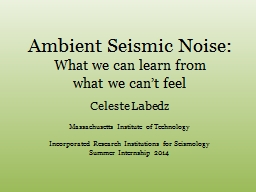 Ambient Seismic Noise: