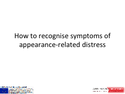 How to recognise symptoms of PowerPoint PPT Presentation