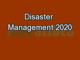 Disaster Management 2020