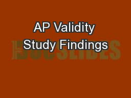 AP Validity Study Findings